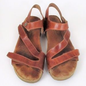Josef Seibel 39 Brown Leather Sandals Ankle Strap